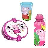 Le fantasie di casa Set in plastica Combo Tre Pezzi Peppa Pig Porta Pranzo con Posate Borraccia Bicchiere.