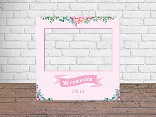 Photocall Mi Primera Comunión Niña 100 x100 cm | Regalos para Comuniones | Photocall Económico y Original | Ideas para Regalos | Regalos Personalizados de Comunión