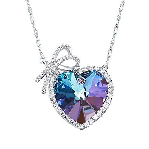 DEQIAODE 925 Sterling Silber Liebes-Halskette für Frauen Herz-Halskette mit Herzform Blauer Swarovski Kristall Anhänger