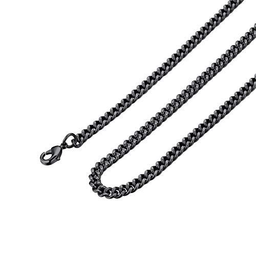 ChainsHouse Cadenas para Hombre Acero Inoxidable 4mm Ancho 66cm Largo Negro Collar de Cuello Chicos Rap Rock Hip Hop Cadena Collar Hombres