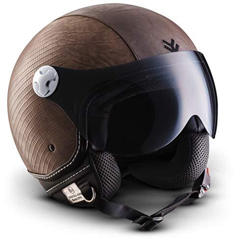 "ARMOR HELMETS® AV-84 ""Ranger"" · Jet-Helm · Motorrad-Helm Roller-Helm Scooter-Helm Moped Mofa-Helm Chopper Retro Vespa Vintage Pilot Biker · ECE 22.05 Visier Schnellverschluss Tasche XXL (63-64cm)"