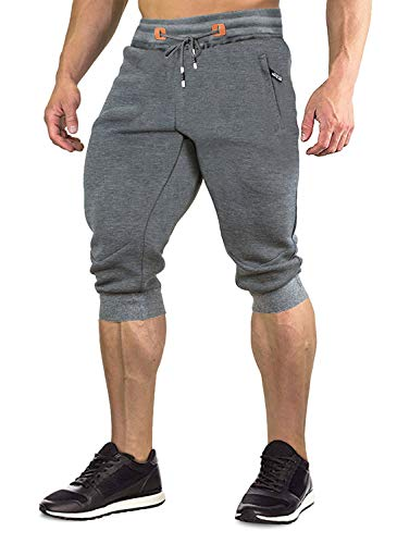 FASKUNOIE Men's Shorts Three Quarter Running Casual 3/4 Shorts with Zipper Pockets Gray