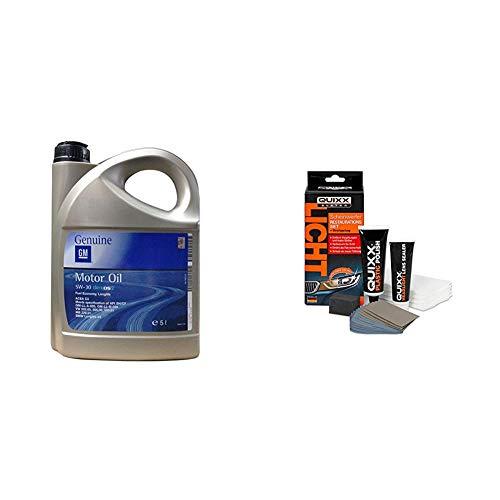 Opel GM Motoröl 5W-30, 5 Liter & QUIXX Scheinwerfer Restaurations-Set | Scheinwerfer Reparatur-Set | Scheinwerfer Politur | Scheinwerfer AufbereitungsSet