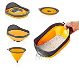 Qlux Ideas Silicone Collapsible Colanders with Handles and funnel set - kitchen Food Strainers - Rice Noodle Pasta Fruit and Vegetable Cooking strainer - Dishwasher safe (Orange-Funnel)