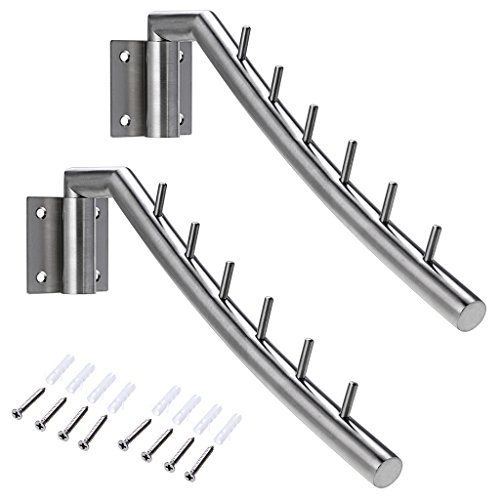 Perchero de pared BTSKY, con doble fila de ganchos, acero inoxidable de uso rudo SUS304, 2 sets