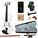 Amdini Solid Spruce 4/4 Violin Kit Varnish Fiddle AC100 Full Size for Adults Beginners Students with Case, Tuner, Manual, Bow, Shoulder Rest, Extra Strings (White)