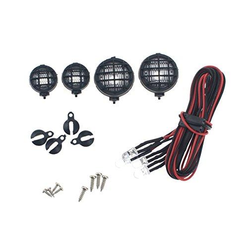 HobbyMarking 4Pcs RC Crawler 1/10 LED Light Cup 18mm & 12mm LED Lamp Kits for 1/8 RC4WD Truck AXIAL Tamiya Car Parts