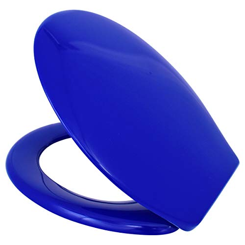 LUVETT® WC-SITZ C200 oval mit EasyFix® Steckscharnier OHNE ABSENKAUTOMATIK, bequeme & stabile Befestigung von oben, hygienisch & beständig Duroplast Toilettendeckel, Farbe:Blau