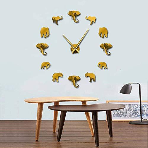 Jungle Animal Big Wall Clock Modern Design Mirror Effect Giant Big Clock Home Decoration 27inch