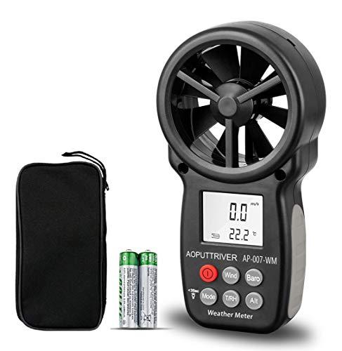 【6 IN 1】Digitaler Anemometer, handlicher Windmessgerät,Windmesser Kit with Tripod,Rücklicht Thermometerfür Windgeschwindigkeitsmesser Lufttemperatur(AP-007WM).