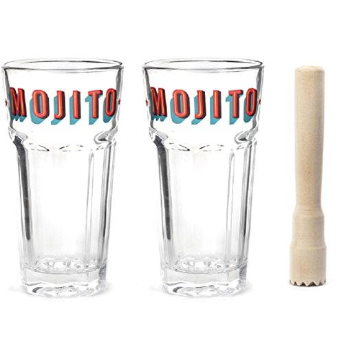 Kikkerland Mojito Gläser und Stößel, transparent, Set von 3