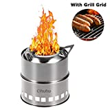 Ohuhu Camping Stove Stainless Steel Backpacking Stove Potable Wood Burning Stoves for Picnic