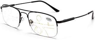 3691976d5f RXBFD De los Hombres Medio bordeado Fotocromático Gafas de Lectura, Diodos  Multifocales Lentes Progresivas Lentes