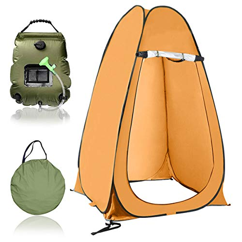 EnweGey Pop Up Outdoor Shower Tent, Portable Solar Shower Camping Bag with Carrying Bag, 5 Gallons/20L Hot Water 45°C, for Outdoor Traveling Hiking Changing Dressing Shower,4.Orange