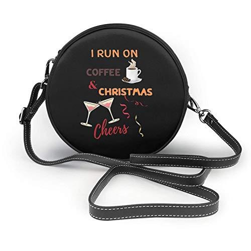Ich laufe auf Kaffee und Weihnachten Prost Schulter Leder Tasche, kleine Schulter Tasche, ultraleichte Geldbörse, waschbare Umhängetasche, für Frauen