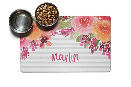The Navy Knot Personalized Large Pet Mat | Two Sizes | Dog Placemat | Dog Food Mat | Pet Placemat | Pet Food Mat | Personalized Pet Placemat | Fabric Placemat (12 x 18, Pink and Orange Floral Drop)