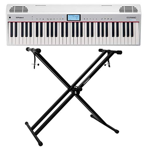 Roland GO:PIANO (GO-61P-A) 61-Key Digital Piano Keyboard with Alexa Built-in Bundled with X-Style Piano Stand