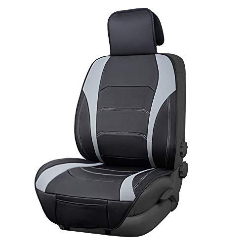 AmazonBasics - Funda Deluxe de asiento de cuero sintético de ajuste universal sin laterales, negro con líneas grises