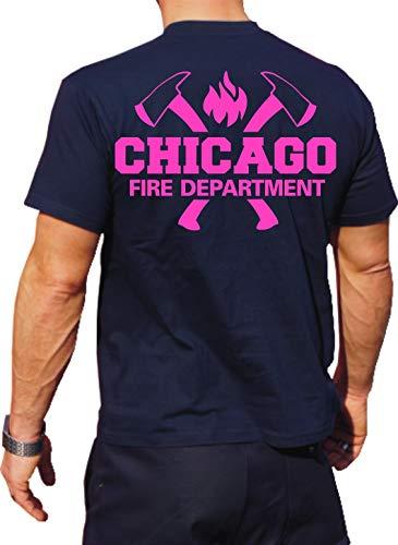 feuer1 T-shirt Navy Chicago Fire Dept. avec haches et emblème standard, édition rose