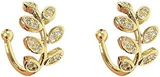 أساور الأذن S925 فضة استرليني 18K مطلية بالذهب ورقة غير ثقب الأذن كليب الكفة التفاف أقراط لا تسبب الحساسية للنساء (1 زوج)