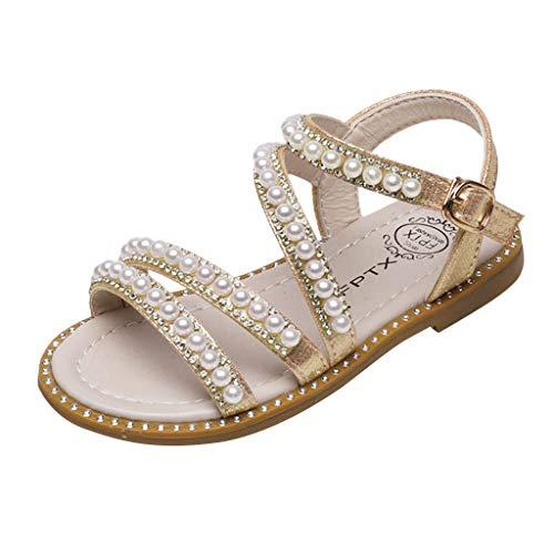 HDUFGJ Mädchen Sommer offene Sandalen Perle Strandschuhe Prinzessin Schuhe Atmungsaktiv Gummi Sommer Freizeitschuhe Outdoor Wandern Wasserschuhe Laufschuhe28(Gold)