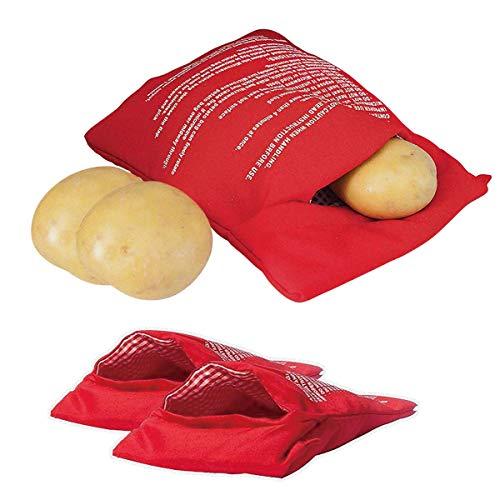 YIQI (2 Pack) Mikrowelle Kartoffel Tasche, magnolian Mais, Day-Old Brot, Tortillas Herd Tasche, waschbar und wiederverwendbar, Rot 20x25 cm