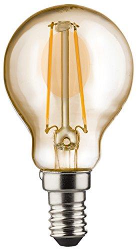 MÜLLER-LICHT 400196 A+, Retro-LED Lampe Miniglobe, ersetzt, Glas, 2,2 W, E14, Gold, 4.5 x 4.5 x 7.7 cm