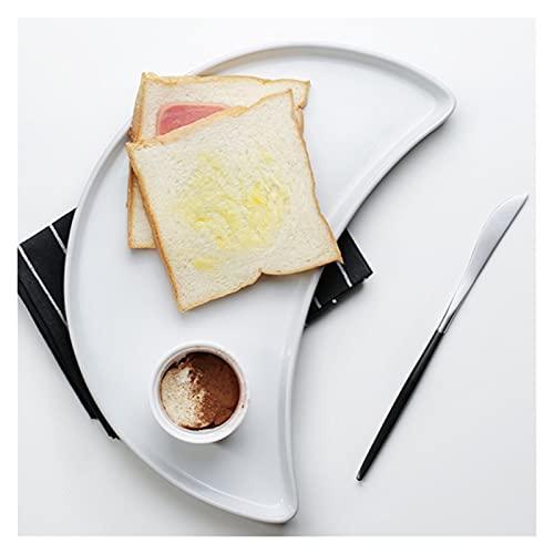 Bandeja de vajilla de cerámica blanca, bandeja de mesa de café, multifuncional, decoración del hogar, forma de luna, plato de cena, plato de desayuno, placa plana decoraciones para sala de estar