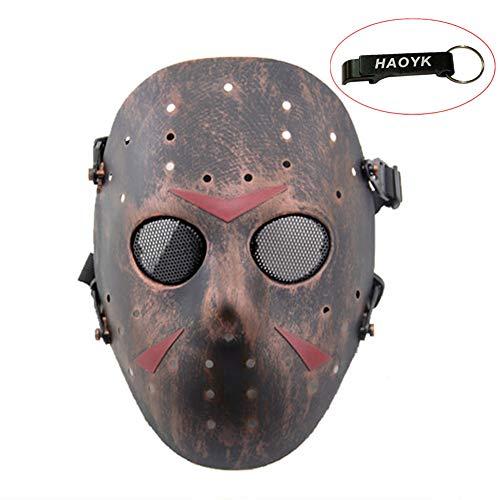 Máscara de Jason de Haoyk CS Games, máscara de malla, metal y cobre con protección completa de la cara, para Halloween, fiestas de disfraces, cobre