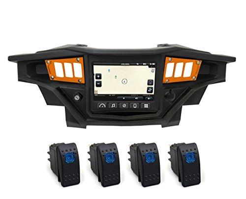 STV Motorsports 2017-2018 Polaris RZR XP 1000 RIDE COMMAND Custom Switch Dash Panel Plates with 4 free rocker switches - 100% MADE in USA (orange, 4 rocker switch)