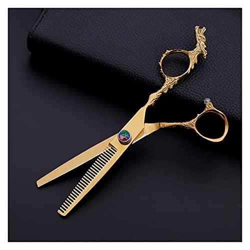 Cizalas de corte de pelo Pelo de gorro de afeitar profesional, tijeras planas, tijeras de texturización para salón, tijeras de peluquería galvanopladas doradas (Size : Tooth shears)