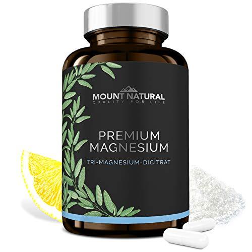 Mount Natural Premium Magnesium 180 Kapseln - 2010mg Magnesiumcitrat, davon 322mg elementares Magnesium/Tagesdosis. Laborgeprüft, frei von Zusatzstoffen, vegan, hochdosiert, aus Deutschland, no China