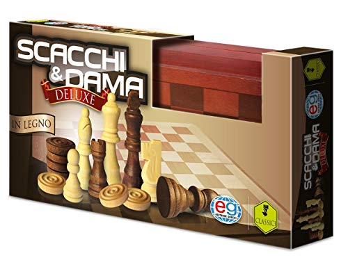 Editrice Giochi- Wood Chess And Checkers Set, Multicolore, 6036101