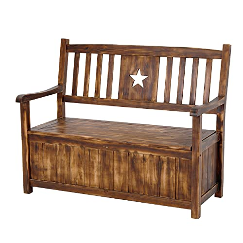 MUPATER Wood Outdoor Storage Bench Large Deck Box for Outside, 2-Person Water-Resistant Patio Seating to Store Garden Tools and Pool Toys, 48Inch, Rustic Brown