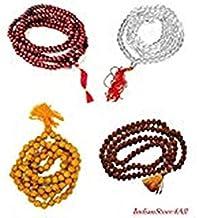 Style OK Indian Set of 4 Pooja Jap Mala Rudraksha Mala Red Sandalwood mala Sphatik Mala & Haldi Beads mala