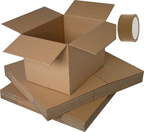 Set di 10scatole di cartone a onda doppia per libri, 40x 30x 30 cm+ 1nastro adesivo di 100metri