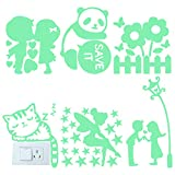 Qixuer 6 Pezzi Interruttore Adesivi Luminose,Rimovibile Interruttori Murali Adesivi da Paret Fluorescenti Cartoon Interruttore Luminoso Sticker per Camera da Letto Soggiorno Decorazioni