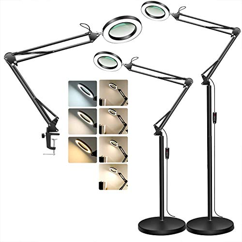 TOMSOO Magnifying Floor Lamp with Clamp, 3 Color Modes, 10...