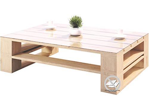 sunnypillow Palettenmöbel Gartenmöbel Set aus Holz Indoor/Outdoor Europaletten Möbel holztisch fürBalkon Terrasse Garten Natur Couchtisch 100 x 60 cm Höhe : 40 cm