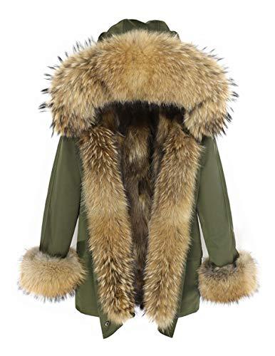 Lea Marie Damen Luxury Premium Parka XXL Kragen aus 100% ECHTPELZ ECHTFELL Jacke Mantel Fuchspelz Innenfutter (Khaki, S)
