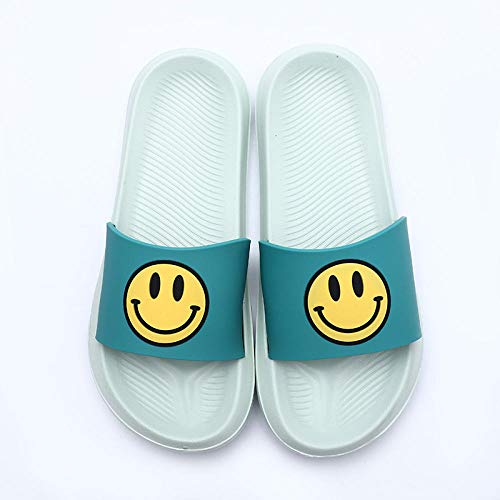 TDYSDYN Sandalias de baño Antideslizantes,Zapatillas de casa sonrientes, Lindas Chanclas para Parejas-Verde_44/45