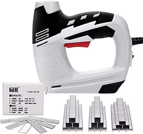 KeLDE Electric Staple/Nail Gun Kit, 120V Corded Power Stapler Set, Includes 900pc T50 Staples and 300pc 15mm Brad Nails