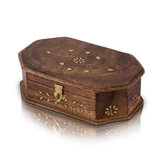 Indian Decor & Attire Ideas - Joyero decorativo hecho a mano de madera con cerradura y llave, organizador de joyas, caja de recuerdo, cofre del tesoro, caja de seguridad, caja de reloj, caja de 8 x 5