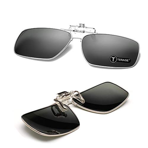 TERAISE Polarisierte Sonnenbrille des Metallclips, Sonnenbrille der Männer Klipp,Mit Flip-Funktion, Geeignet für Outdoor-Sportarten (Black)