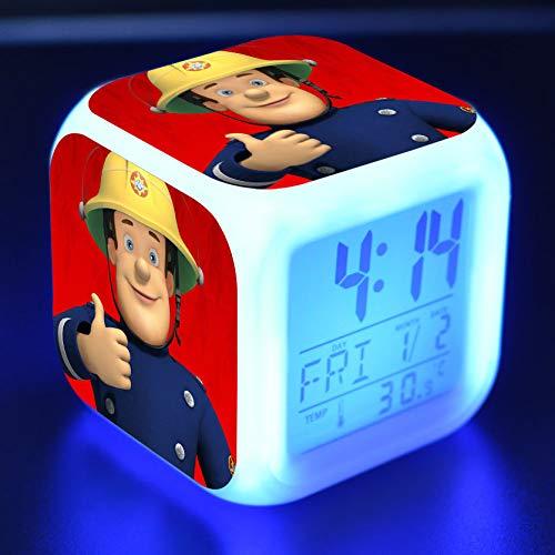 shiyueNB Feuerwehrmann Sam Cartoon Spielzeug Kinder Wecker LED Verfärbung Digitaluhr Plattform Nacht Wecklicht leuchtenden elektronischen Tau