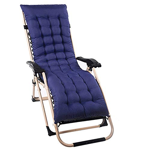 1Pack Sun Lounger Cushions Pads Replacement Topper Relaxer Recliner Cushion Outdoor Garden Patio Beach Thick High Back Chair Seating Covers (160 * 48cm, Navy Blue)