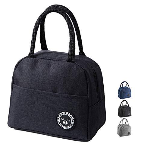 NHHEO Piccola Borsa Termica,Porta Pranzo,Borsa Frigo,Lunch Bag,Borse da Picnic Pranzo per Escursionismo,Picnic All'aperto,Barbecue,Lavoro,Pranzo (Black)