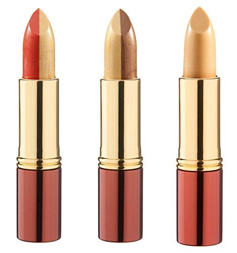 IKOS Lippenstift 3er Set: der denkende Lippenstift Gelb/Apricot + Duo-Lippenstift Gelb/Braun + Duo-Lippenstift Gelb/Orange