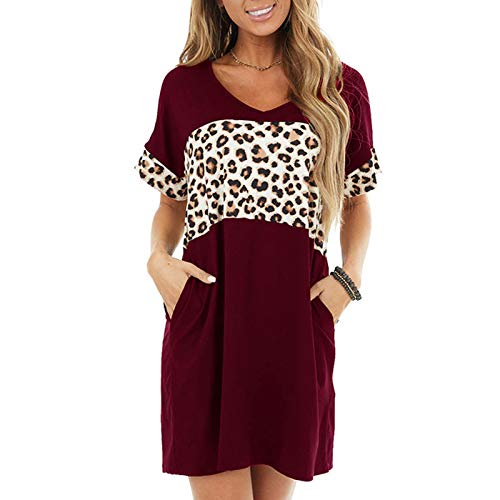 Celucke Womens Summer Leopard Print Patchwork Short Sleeve Round Neck Loose Fit Comfy Casual Pockets Shirts Dress Wine