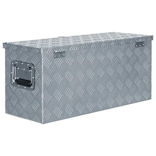 WENXIA Alubox | Allzweck-Transportkoffer | Deichselbox | Aufbewahrungsbox | mit Verriegelungssystem | Silber 80 × 30 × 35 cm - 3